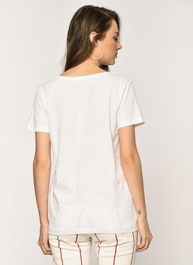 Loves You Kalp Baskılı T-shirt Beyaz